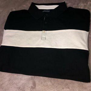 Black and White Nautical Short Sleeve Polo